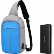 Baterie externa Romoss Solo 5 10000 mAh negru+mini-Rucsac antifurt bleu cu port USB extern incarcare telefon