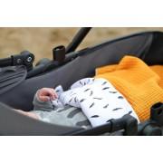 Wandelwagen deken - kinderwagen deken - okergeel - veer - babydeken