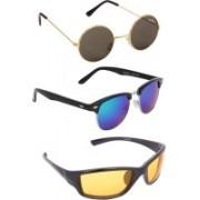 Benour Round, Wayfarer, Wrap-around Sunglasses(Green, Blue, Yellow)