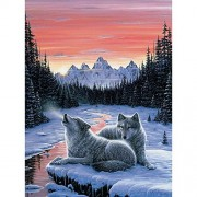 Bits And Pieces 1000 Piece Glow In The Dark Puzzle Winters Dawn, Snowy Winter, Wolf By Artist Jeff Tift 1000 Pc Jigsaw