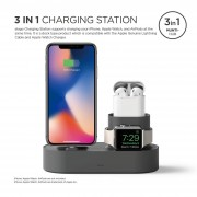 Elago Trio Charging Hub - силиконова поставка за зареждане на iPhone, Apple Watch и Apple AirPods (тъмносива)