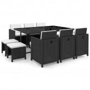 vidaXL Set mobilier de exterior 27 piese, poliratan, negru