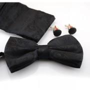 Set papion, butoni si batista negru cu model discret