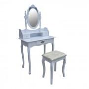 Biała Toaletka Kosmetyczna Z Lustrem + Taboret