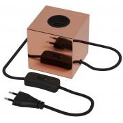 Calex E27 tafellamp-voet met schakelaar max.1x40W 1,8M snoer, koper