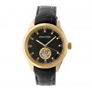 Heritor Automatic Crew Semi-Skeleton Leather-Band Watch - Gold/Black HERHR7006