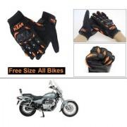 AutoStark Gloves KTM Bike Riding Gloves Orange and Black Riding Gloves Free Size For Bajaj Avenger 220 DTS-i