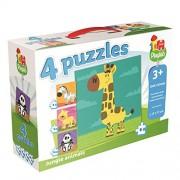 Jumbo Playlab 4-in-1 Jungle Animals Jigsaw Puzzles