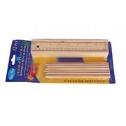 Colour Pencils Wooden Pencil Box 12 Natural Wood Pencils Colors Box with Sharpener and Ruler by Viyu Box