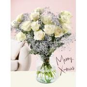 Surprose Wit kerstboeket met zilverkleurig gipskruid Rozen online bestellen & versturen Surprose.nl