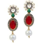 Kriaa by JewelMaze Green And Maroon Austrian Stone Pearl Drop Gold Plated Dangle Earrings-AAA0417