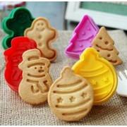 Albero di Natale Biscottino Gingerbread Pupazzo di neve e Pallina dell'albero. Set 4 Stampi espulsione Tagliapasta.
