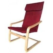 Relax fotel, bordó, mosható huzattal, rétegelt nyír vázzal