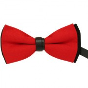 Leonardi Solid Red Polyester Free Size Bow Tie for Men