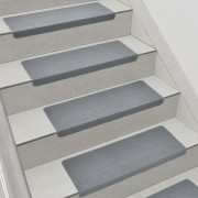 Комплект от 15 броя самозалепващи се килими (стелки) за стълби [en.casa]®, 280 g/m² , Правоъгълник, Сив