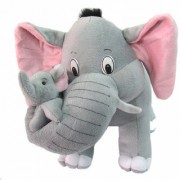 Grey Mother Elephant with Single Baby Stuffed Soft Plush Toy 32 cm