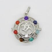Pandantiv cusca argintie chakre si simbolul OM