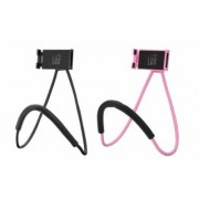 LAX Gadgets Universal Adjustable Neck Mount Hands-Free Phone Holder for iPhone, Samsung 2 Pack Universal Black & Pink (2xNECK-blk-pnk)