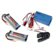 Two 7.2V 3000mAh Flat NiMH High Power Battery Packs with Tamiya Connectors + A Smart Universal Charger for NiMH / NiCd Battery pack 7.2V - 12V 1.8A