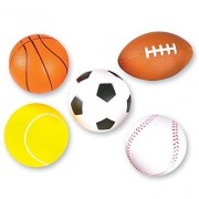 """5 Soft Foam Sports Balls For Kids 3.5"""" Perfect for Small Hands Includes 1 Soccer Ball"""