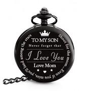 FREDERICK JAMES Reloj de Bolsillo con Grabado «To My Son Love Mom» para Regalar a mi Hijo, para Navidad, San Valentín, cumpleaños.