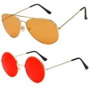 SRPM Aviator, Round Sunglasses(Orange, Red)