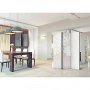 Esszimmer Paravent mit abstraktem Blüten Motiv 135 cm breit