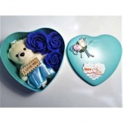 SC MSG Heart Shaped Box with Teddy and Roses Flower with Rose Small (Royal Mint Green) with I Love You Message on it
