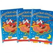 Christmas Activity Books - 6 Mini Christmas Stickers Books for kids containing colouring pages, dot-to-dot, stickers and puzzles. Size 14.5cm x 10cm.