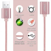 Premium Nylon Braided fast Charging USB Extension (Female to Male) Data / Charging Cable - PINK (For All Phone 1 Meter ) By Jabox