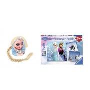 Disney Frozen Elsa Baseball Hat with Ponytail & Frozen 3 Puzzle Set Of 49 Pieces By Ravensburger