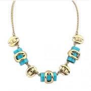 Egyedi formákkal díszített bizsu nyaklánc- Kék