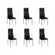 vidaXL Трапезни столове, хром и изкуствена кожа, черни – 6 бр.