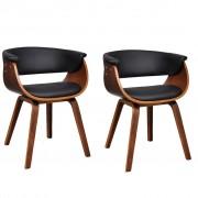 vidaXL Комплект модерни столове за хранене от изкуствена кожа и дърво, 2 броя
