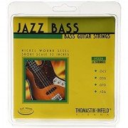 Thomastik-Infeld JF324 Bass Guitar Strings: Jazz Flat Wounds 4-String Short Scale Set; Pure Nickel Flats G D A E Set