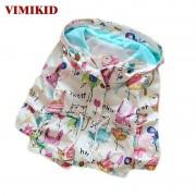 VIMIKID Spring&Autumn 2017 New Cotton Baby Girls Cardigan Coat Spend Three Flowers Lollipops Dot Jacket Kids Children Clothing