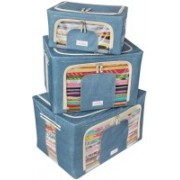 BlushBees Living Box - Value for Money Combo - Storage Boxes for Clothes, Saree Cover, Blanket Bag - 24 + 66 + 88 Litre, Pack of 3, Cowboy Blue(Blue)
