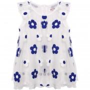 Kids Girl's O Neck Sleeveless Mesh Appliqued Hemp Lining Flower Dress Sundress