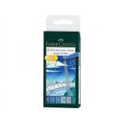Faber Castell tekenstift Pitt Artist Pen Brush etui a 6 stuks shades of blue