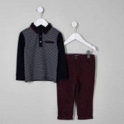 River Island Mini boys Navy polo and chinos outfit