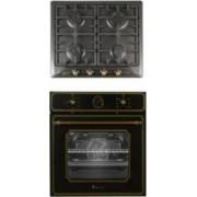 Pachet incorporabil cuptor electric si plita gaz Studio Casa Toscana Black Rustic Clasa A Gratare fonta Negru