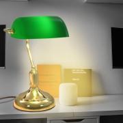 vidaXL Банкерска настолна лампа, 40 W, зелено и златисто
