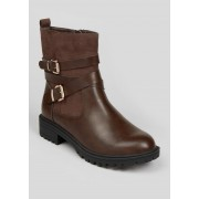 Matalan Wide Fit Buckle Biker Boots in Size 8, Brown