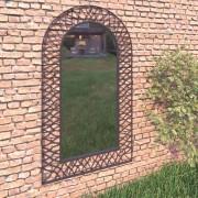 vidaXL Градинско стенно огледало с рамка, 60x110 см, черно