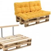 [en.casa]® Sofá de palés - europalé de 2 plazas con cojines - (mostaza) Set completo, incluido respaldo