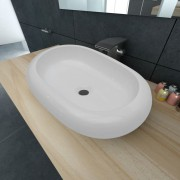 vidaXL Chiuvetă ovală pentru baie din ceramică, Alb