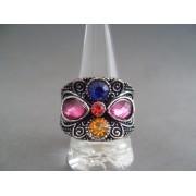 Inel bijuterie floral cu cristale