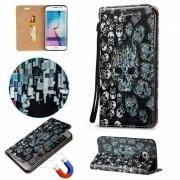 BLCR Skulls patron caso magnetico para Samsung Galaxy S6 Edge - Negro