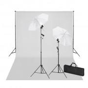 vidaXL Kit de estúdio com fundo branco 600x300 e luzes