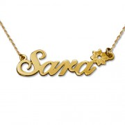 Personalized Men's Jewelry 14K Gold Flower Name Necklace 101-01-118-01